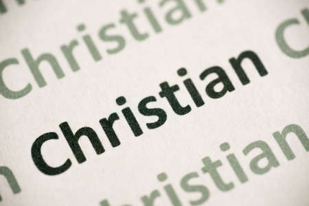 Word Christian printed on white paper macro