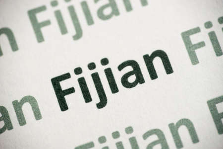 word Fijian  language printed on white paper Banque d'images