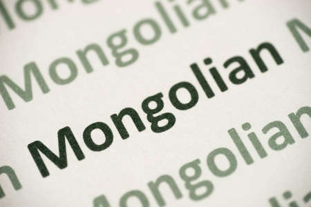 word Mongolian language printed on white paper macro