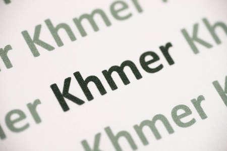 word Khmer language printed on white paper macro