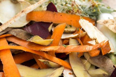 vegetable rotten peelings in composting pile