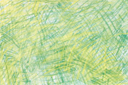 green and yellow pastel crayon drawing on paper background texture Archivio Fotografico