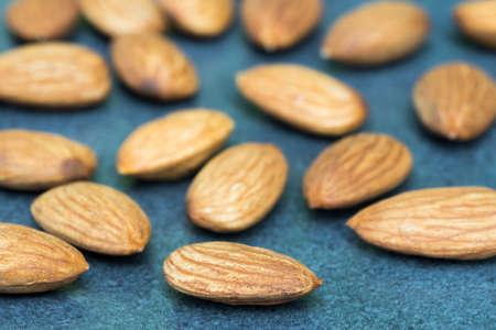 almond nuts on table closeup selective focus Archivio Fotografico