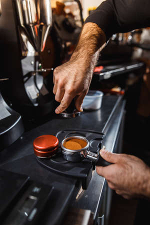 Making an espresso and cappuccino.