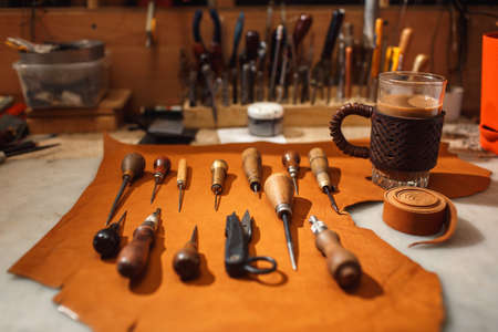 The tools of a tanner for working with leather
