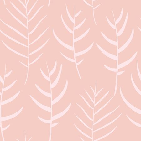 Vector Bright Palm Leaves Shapes in Pink seamless pattern background.