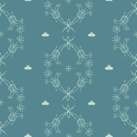 Vector Magical Florals with Moths Arabesque seamless pattern background. Perfect for fabric, wallpaper and scrapbooking projects. Ilustração