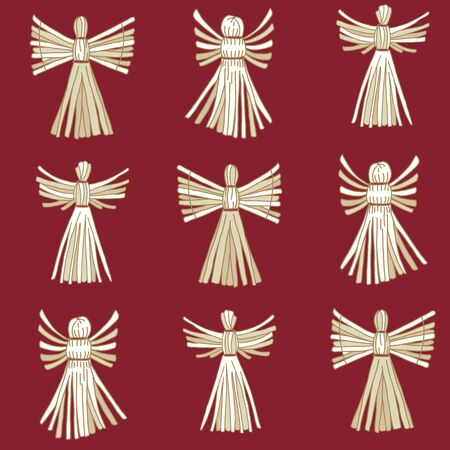 Vector Christmas Straw Angels seamless pattern background.