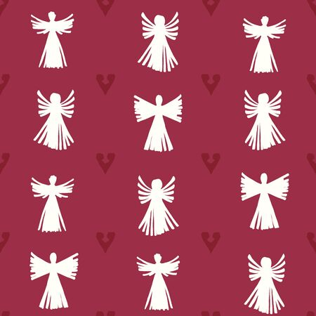 Vector Christmas Straw Angels with Hearts seamless pattern background.