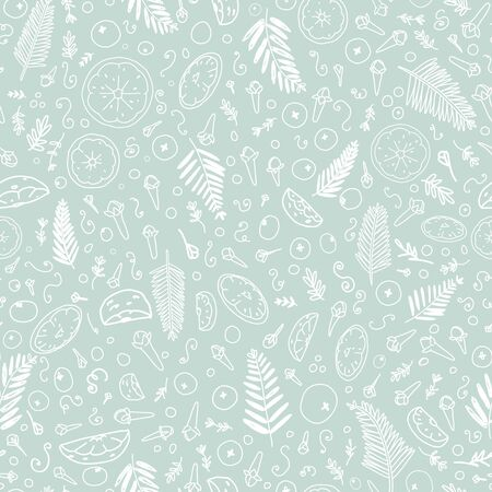 Vector Handful Of Christmas Scents seamless pattern background. Ilustração