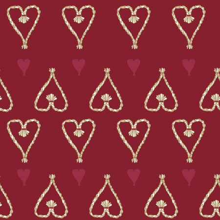 Vector Folk Christmas Straw Heart Ornaments seamless pattern background. Stock Illustratie