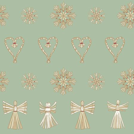 Vector Christmas Straw Ornaments in line on mint seamless pattern background.