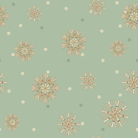 Vector Christmas Straw Snowflakes with dots seamless pattern background. Stock Illustratie