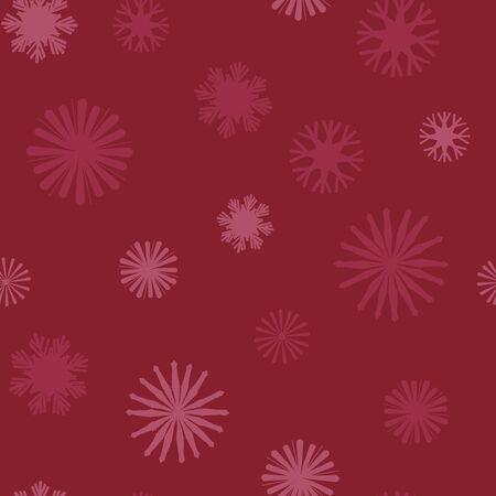 Vektor-Weihnachtsstroh-Schneeflocken im roten nahtlosen Musterhintergrund. Vektorgrafik