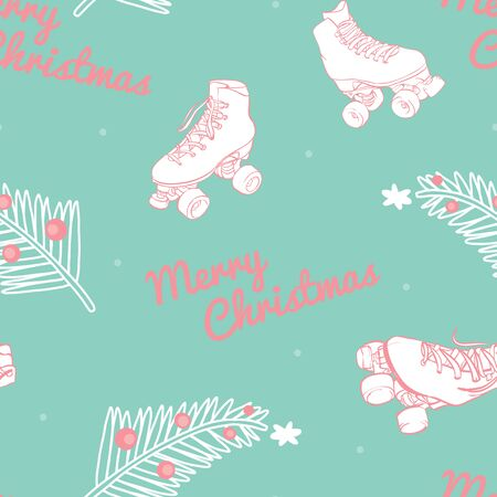 Vector Have a Merry Roller Skate Christmas in Pastel seamless pattern background.