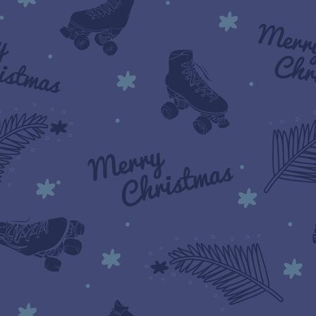 Vector Have a Merry Roller Skate Christmas in Blue and Green seamless pattern background. Stock Illustratie