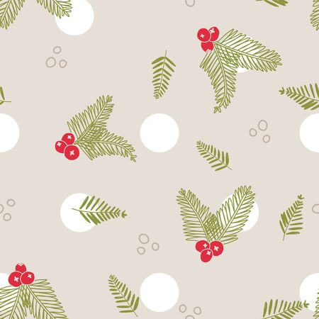 Vector Handful Of Christmas Scents Crandberry Needles seamless pattern background.