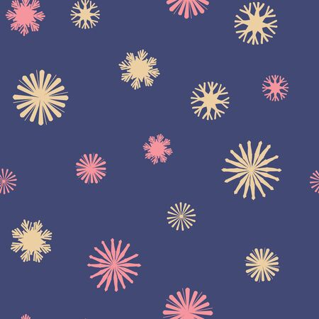 Vector Colorful Star Snowflakes on Navy Blue seamless pattern background. Stock Illustratie