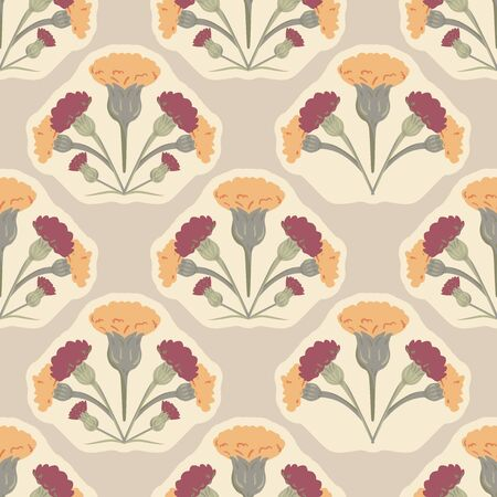 Vector Retro Hand Drawn Meadow Florals Symmetrical Design seamless pattern background.