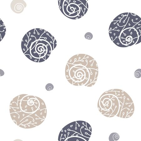 Vector Snails Floral Shells on White seamless pattern background. Vecteurs