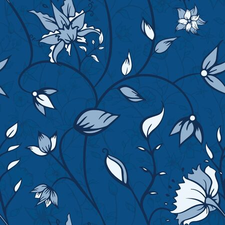 Vector Indian Florals in Monochromatic Blues seamless pattern background. Perfect for fabric, scrapbooking and wallpaper projects.