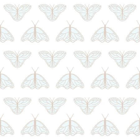 Vector Monarch Butterflies in Soft Pastel Colors seamless pattern background. Perfect for fabric, wallpaper and scrapbooking projects.