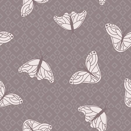 Vector Monarch Butterflies on Mosaic in Soft Colors seamless pattern background.