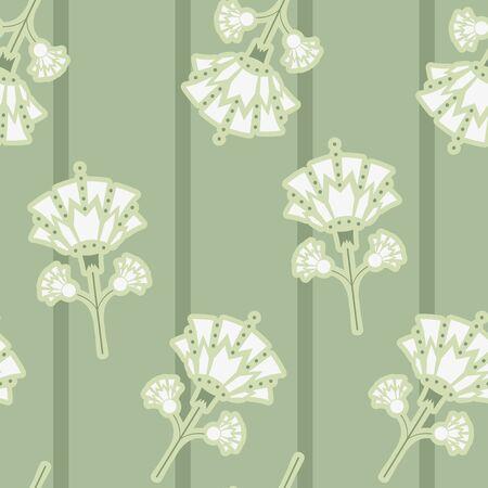 Vector Art Deco Style inspiré Snowdrop Florals avec rayures sans soudure de fond.