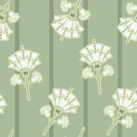 Vector Art Deco Style inspired Snowdrop Florals with Stripes seamless pattern background.