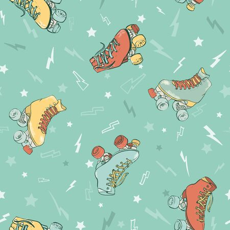 Vector Electric Roller Skating on Aqua Menthe seamless pattern background.
