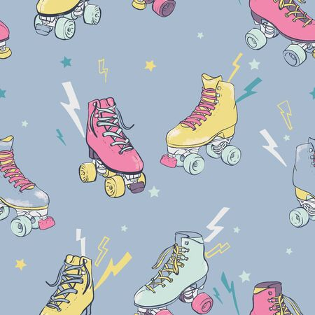 Vector Retro Electric Roller Skating on Pastel Blue seamless pattern background.