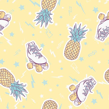 Vector Summer Roller Skates with Pineapples on Sunny Yellow seamless pattern background. Illustration