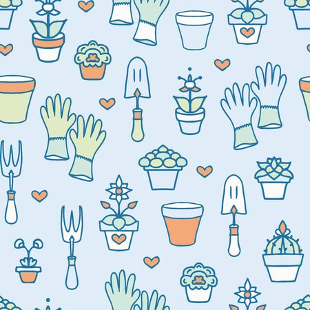 Vector Colorful Hand Drawn Garden Accessories on Green seamless pattern background. Иллюстрация