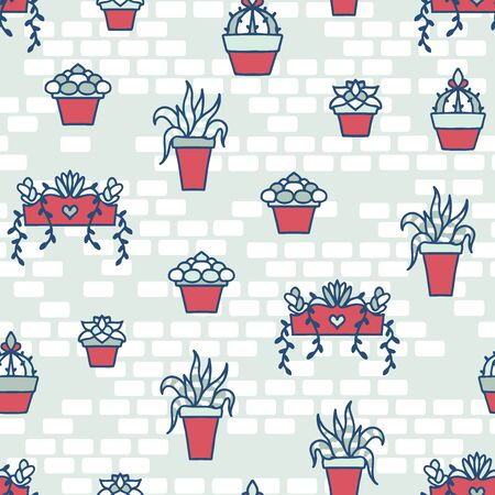 Vector Hand Drawn Succulents on Bricks seamless pattern background.