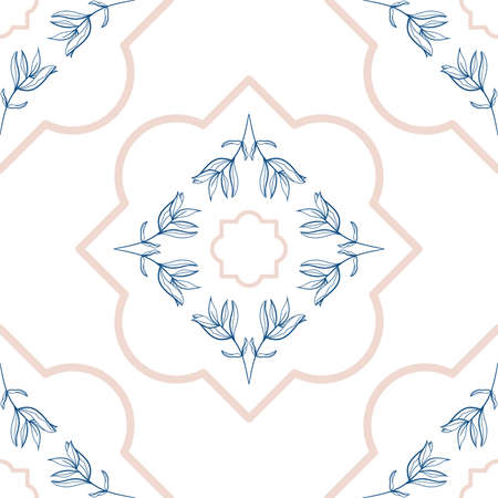 Delicate Peony leaves line art tiles in seamless pattern Vectores