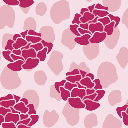Vector Peonies on Animal Print in Pink seamless pattern background. Perfect for fabric, wallpaper and scrapbooking projects.