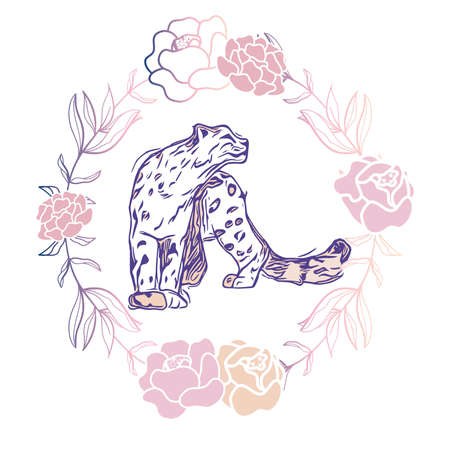 Vector Leopard with Gradient Peony Wreath Design. Perfect for print, invitations and other design projects.