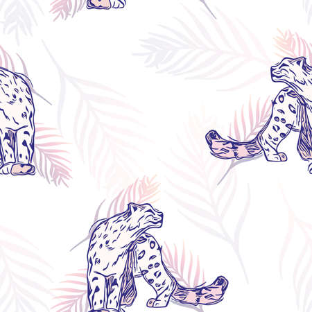 Vector Leopards with Gradient Palm Leaves on White seamless pattern background. Perfect for fabric, wallpaper and scrapbooking projects.