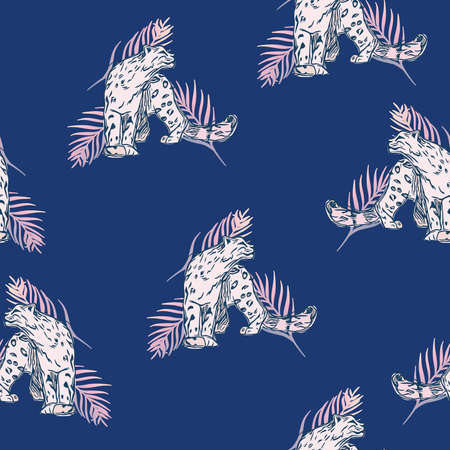 Vector Leopards with Gradient Palm Leaves on Blue seamless pattern background. Perfect for fabric, wallpaper and scrapbooking projects. 向量圖像