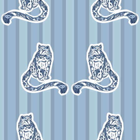 Vector Blue Monochromatic Snow Leopards On Stripes seamless pattern background. Perfect for fabric, wallpaper and scrapbooking projects.