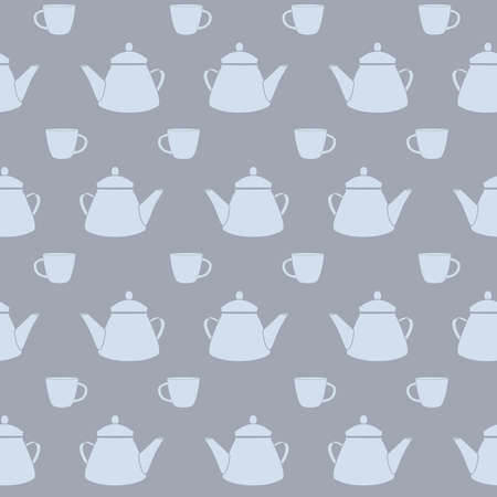 Vector Tea Pots and Cups in Dusty Blue Colors seamless pattern background. Perfect for fabric, wallpaper and scrapbooking projects.
