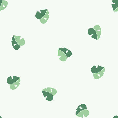 Vector Cute Baby Monstera Leaves in Green seamless pattern background. Perfect for fabric, scrapbooking and wallpaper projects.
