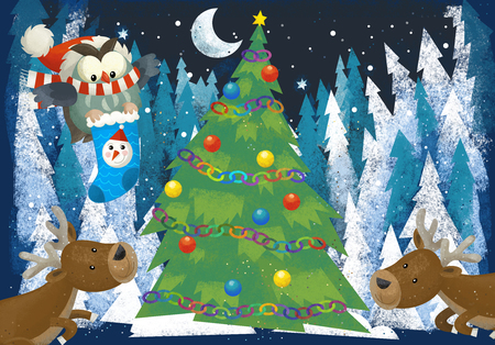 winter scene with forest animals reindeers and santa claus owl near christmas tree - traditional scene - illustration for children Stok Fotoğraf - 114819553