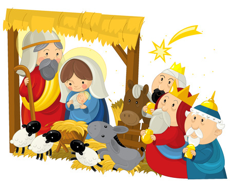 religious illustration holy family three kings and shooting star - traditional scene - illustration for children Фото со стока
