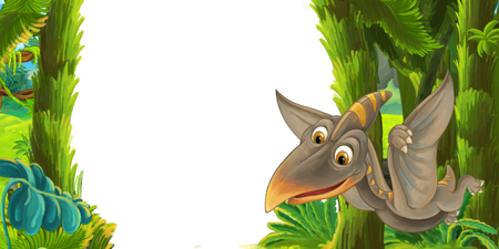 cartoon scene with flying dinosaur pterodactyl - frame for different usage - illustration for children