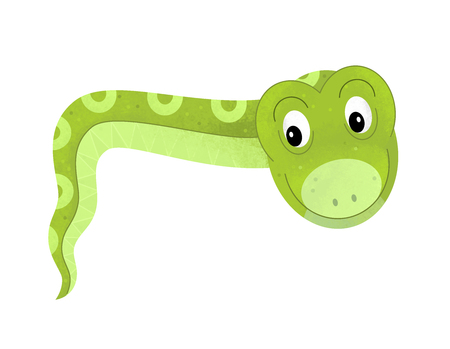 cartoon scene with snake on white background with sign name of animal - illustration for children
