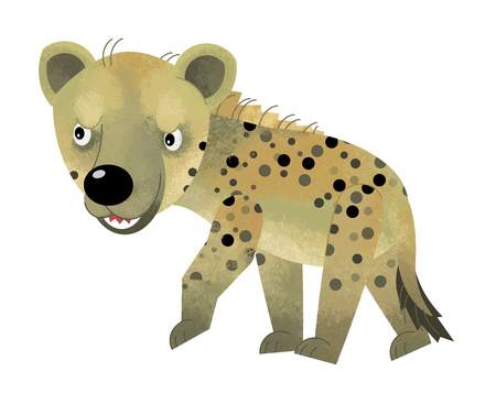 cartoon scene with hyena on white background - illustration for children Banque d'images