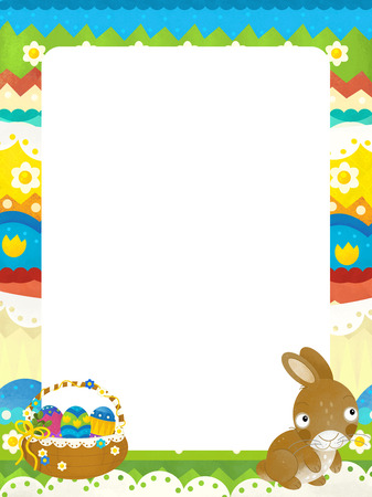 cartoon scene with colorful easter basket and rabbit on frame with white background for text - illustration for children