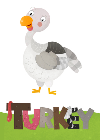 cartoon scene with happy turkey on white background with name sign of animal - illustration for children