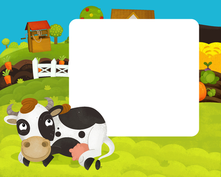 cartoon happy and funny farm scene with happy cow - with frame space for text - illustration for children Stockfoto